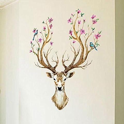 OverDose Home Decor Art Decal PVC Deer Wall Sticker