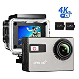 4K Action Kamera, TopElek 2.0 Zoll Wifi Unterwasserkamera Digital Helmkamera 16MP Ultra Full HD...