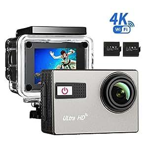4k Action Kamera, VicTsing WIFI & 2,0 Zoll sports cam 24fps Action Cam Sport Camera Wasserdicht Ultra Full HD mit 2 verbesserten Batterien und kostenlose Zubehör Kits