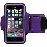 COOSA Smartphone brazal de los deportes y la titular de la clave para Apple Iphone5 / 5S y otros similares Tamaño teléfonos inteligentes, con la correa de velcro ajustable para Correr, Ciclismo, Una Buena Condición, etc. (púrpura)