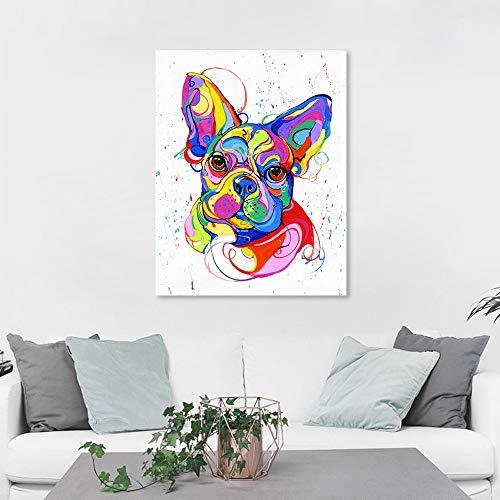 Mur Art Toile Peinture Bouledogue Français Coloré Animal Image Huile Imprimer Pour Le Salon Home Decor40X50CM