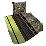 Bettwäsche-Set Baumwolle Garnitur in vielen Qualitäten und Größen mit Marken Reißverschluss (Microfaser 155x220 cm 2tlg, Lila Weiss)