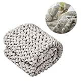 gaeruite 130 x160cm Dicke Wolle Handgestrickte Decke, handgemachte gehäkelte gestrickte Decke für Bett, Sofa, Wohnzimmer, Yoga, Teppich-Dekor