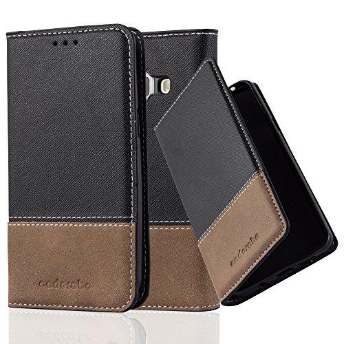 Preisvergleich Produktbild Cadorabo Hülle für Samsung Galaxy J1 2015 (5) - Hülle in SCHWARZ BRAUN – Handyhülle mit Standfunktion und Kartenfach aus Einer Kunstlederkombi - Case Cover Schutzhülle Etui Tasche Book