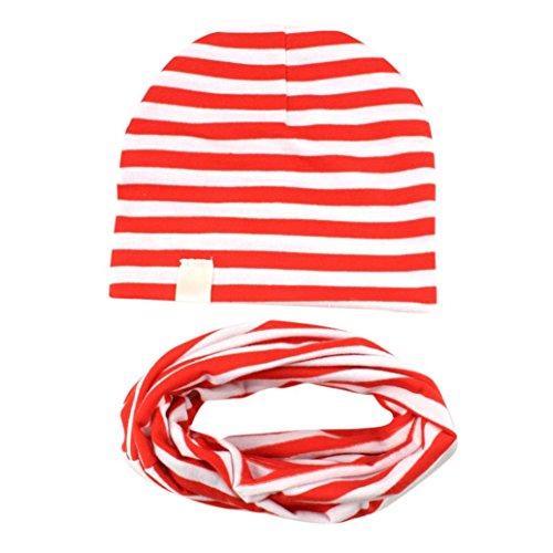 aby Mütze Säugling Jungen Mädchen Strickmütze Baumwollkappe Wintermütze Kappe + Warm Schals Klassisch Gestreift O-Ring Schlauchschal Loopschal Halstücher Kinder Outfits (Rot) (Minion Kinder Outfit)
