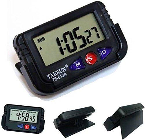 Cartshopper Digital Lcd Alarm Table Desk Car Calendar Clock Timer Stopwatch Dashboard / Office Desk Alarm Clock And Stopwatch - Black