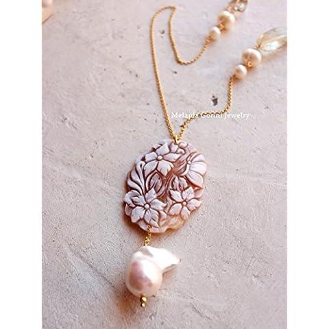 Collana GARDENIA in argento 925 placcato oro con cammeo autentico con fiori, scolpito a mano, quarzo lemon e perle di fiume-perla