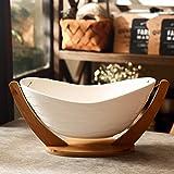 Keramik obstschale,fruit basket groß creative cradle obst schüssel,bambus-holz-basis-B