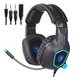 Sades Sa818 Stereo Gaming Headphones With Noise-reduction Mic For Ps4new Xbox Onepclaptopmacipadipod- Blue Black