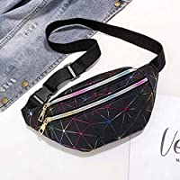 8gh787h Desirable New Pu Leather Stitching Pattern Pockets Men And Women Chest Bag Slung Colorful Laser Waterproof Pockets(None 1)