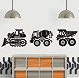 Wandtattoo Cartoon Bau Lkw Wandaufkleber Spielzimmer Kinderzimmer Set Von 3 Construciton Kipper Bulldozer Zement Truck Wandtattoo 28 Cm X 3 Stücke