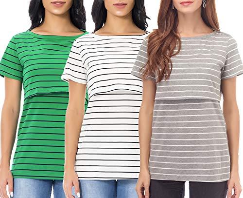 58a9e49a46328 Smallshow Nursing Tops Women's Summer Short Sleeve Striped Breastfeeding T- Shirt Grey/White/