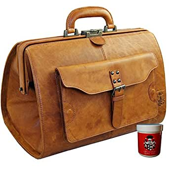 BARON of MALTZAHN Doctor's bag ROOSEVELT of brown Rodeo-leather - incl. leather care