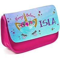 1e873ed9a2 Personalised Pencil Case Unicorn Face KS33 Girls Pretty School Stationary  Bag - Pink
