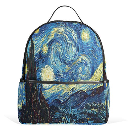 Van gogh starry night zaino casual student zaino durevole unisex scuola bookbag daypack back bag shoulder bag per scuola viaggi