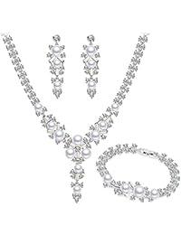 b774a53aa465 BiBeary Mujer Cristal Simulado Perlas Fashion Nupcial Boda Juegos de joyas  Collar Pendientes Pulsera Tono plateado