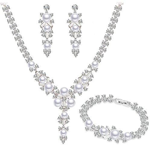 BiBeary Damen Kristallen künstliche Perle Fashion Braut Hochzeit Schmuck Set Halskette Kette Ohrringe Armband Armkette Silber-Ton - Perlen Halskette Braut