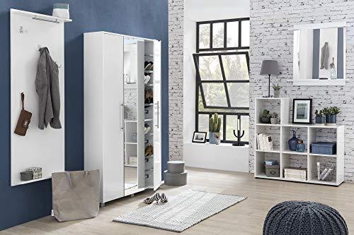 Lomadox Garderoben-Set in weiß glänzend - XXL Schuhschrank, 2X Spiegel, Paneel & Regal, Made in Germany