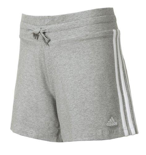 Adidas Ess 3s Knit Shorts Damen Shorts 3stripes Hotpants Sporthosen Jogginghosen Freizeithosen Turnhosen Trainingshosen Performance Essentials Frauen grau weiss 48 (Frauen-fußball-shorts)