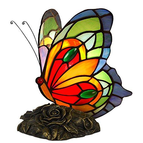 Arte-dal-Mondo-Tiffany-Lampade-da-Comodino-Farfalla-VetroResina-bronzata-Multicolore-21-x-21-x-15-cm