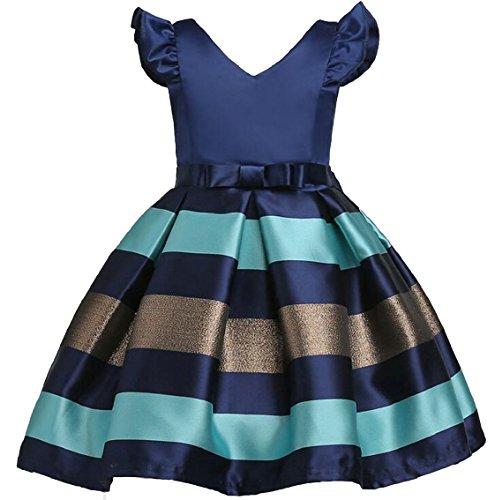 security Little Girl Stripe A-Line Lovely V-Neck Party Dresses