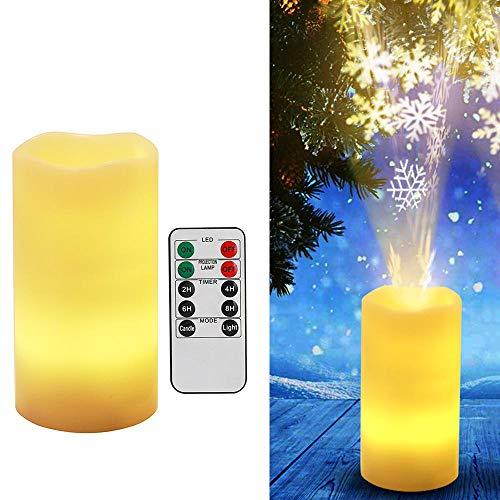 Weihnachts-candlelight-lampen (AOLVO LED Kerze Projektor Lampe Flammenlose Kerzenlicht, Batteriebetriebene Fernbedienung, Künstliche Kerze Projektion Nachtlicht für Weihnachten, Hochzeit, Geburtstag Party Dekoration Schneeflocke)