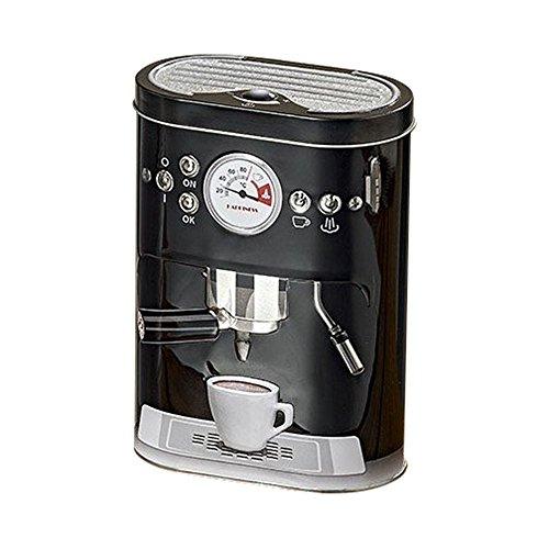 OOTB Vorratsdose Espresso Retro Design mit Deckel Metall Dose Vintage 19 cm (Schwarz)