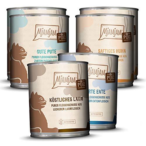MjAMjAM - Premium Nassfutter für Katzen - Mixpaket V - Purer Fleischgenuss, 6er Pack (6 x 800g), getreidefrei mit extra viel Fleisch