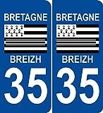 JINTORA - 2 Stickers Autocollant 35 Ile et Vilaine Bretagne Plaque immatriculation département Auto 35 102x46 mm