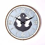 XXBF Holzwanduhr, Mediterraner Wind, Schnur, Alte Dekorative Uhr, Kaffeehausbar