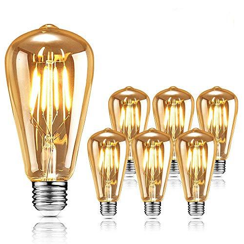 Edison Retro Glühbirne, Edison Led Light Warm White Glühbirne E27 10W Edison Retro Glühbirne, Led Filament Home Coffee Bar und andere nostalgische und Retro Beleuchtung dekorative Leuchten – 6 Stück