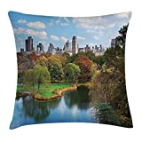 New York Throw Pillow Cushion Cover, Central Park in Autumn with Lake Trees and Manhattan USA American Nature Image, Decorative Square Accent Pillow Case, 18 X 18 Inches