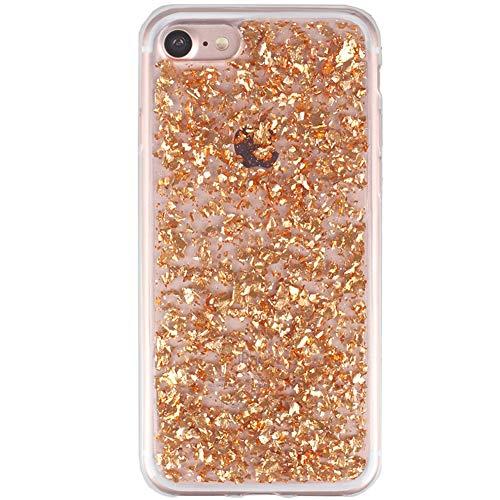 Schutzhülle für iPhone 6 4,7 Zoll (4,7 Zoll), durchsichtig, dünn, luxuriös, Glitzernde Blätter, schmale Passform, strapazierfähig, stoßfest, Flexibles Zubehör für Apple iPhone 6/6S 11,9 cm, Rose Gold (Gummi-blatt Dünne)