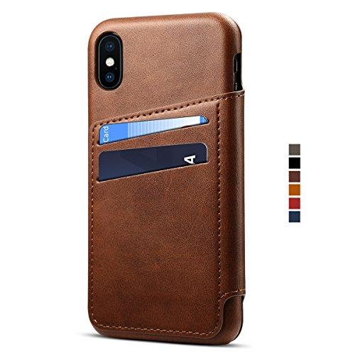 Apple iPhone X Leder Handy Hülle Flip Case Handytasche Cover Schale mit Kredit Karten Fach Geldbörse Geldklammer Leder Handy Schutzhülle,Braun