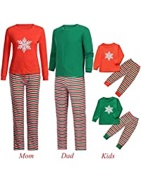 Jaysis Mami & Ich & Daddy Cartoon Schneeflocke Top + Streifen Hose Familie Kleidung Pyjamas Weihnachten, Eltern-Kind Familie Outfits Geschenke