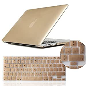 """IDACA Gold Hard Shell Case Cover for Macbook Air 13"""" 13.3"""" A1369 & A1466 and 2014 New Macbook Air with Silicone Keyboard Cover (European Version)"""