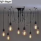 olayer Loft-Kronleuchter / Deckenleuchte / Pendelleuchte / Lampe mit Edisonsockel, Stil: Vintage, Industrial, Steampunk, schwarz, 8heads