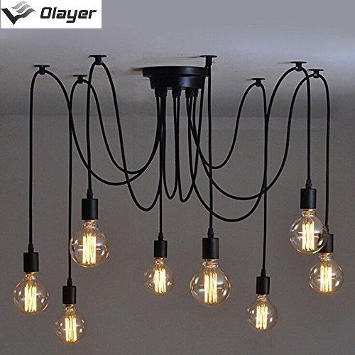 Loft-Kronleuchter / Deckenleuchte / Pendelleuchte / Lampe mit Edisonsockel, Stil: Vintage, Industrial, Steampunk, schwarz
