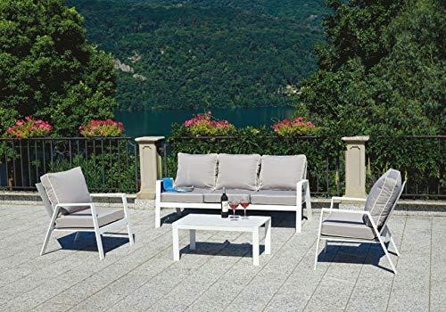 PEGANE Salon de Jardin en Aluminium Blanc, Coussins Coloris Gris Tourterelle