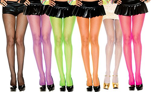 One Size (UK 8-12) Neon Fishnet Tights in many colours