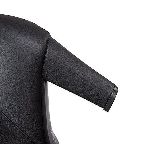 AgooLar Damen Niedrig-Spitze Rein Reißverschluss Hoher Absatz Stiefel mit Schleife Schwarz