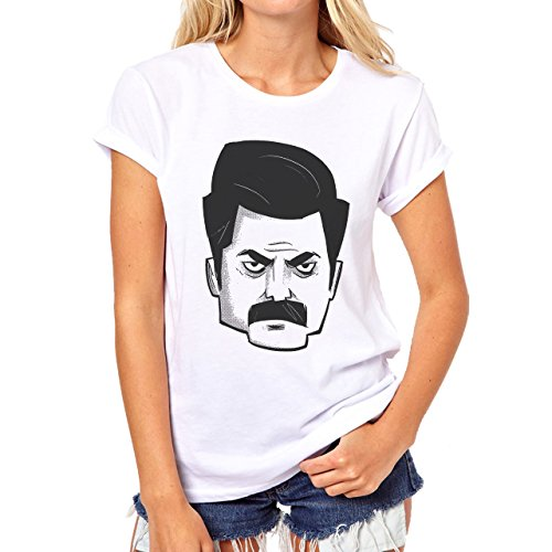 Angular Ron Swanson Serious Emotion Head Damen T-Shirt Weiß