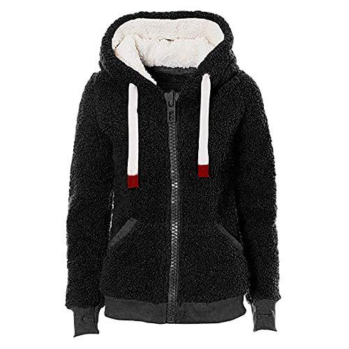Innerternet Damen Herbst Winter Kapuzenpullover Reißverschluss Hoodie Pullover Teddy-Fleece Mantel...