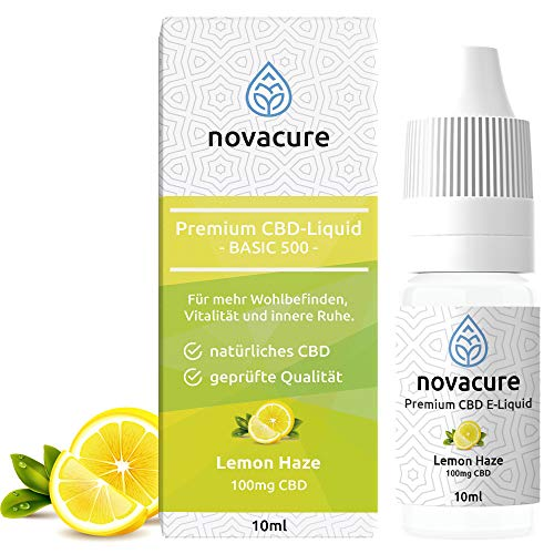 NovaCure CBD Liquid | 100mg Cannabidiol | 10ml Lemon Haze Aroma | 1{64e932de55ed2a80bed62e1d6cdc27c2bc8903b9af6cb5f0e092b350b1856237} CBD E Liquid für E Zigaretten | PG70/VG30 Vape Liquid | Nikotinfrei & THC frei | Made in Germany | Geschmack Frische Zitrone