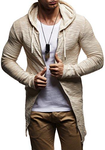 Shirt-jacke (LEIF NELSON Herren Sweatjacke Kapuzenpullover Hoodie Pullover Jacke Sweatjacke Sweatshirt Longsleeve T-Shirt Langarm LN8123; Grš§e XXL, Beige)