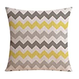 TOOGOO(R) Hot Sale Wholesales Linen Pillow Cover Yellow Grey pillow Cover Geometric Style Home Decorative Pillow Case 45x45cm #9