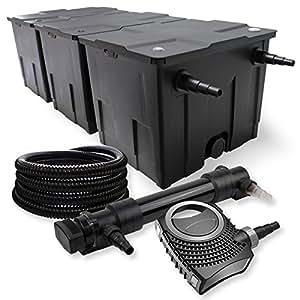 SunSun 3-Kammer Filter Set 90000l 36W UVC 6er Teich Klärer NEO10000 80W Pumpe Schlauch