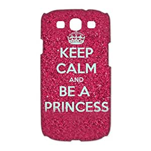 Luckhappy123 Customize Keep Calm and be a princess on all kinds of background black plastic Case Fits and Protect 3D Samsung Galaxy S3 I9300