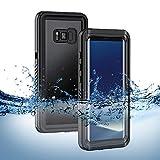 Lanhiem S8 Wasserdichte Hülle, [IP68 Zertifiziert Wasserdicht] Handy Hülle mit Eingebautem Displayschutz,Stoßfest Staubdicht und Schneefest Unterwasser Ourdoor Schutzhülle für Galaxy S8 - Schwarz