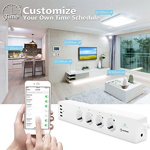 smart steckdosenleiste geekbes wifi steckdosenleiste alexa mit 4 smart ac steckern und 4 usb. Black Bedroom Furniture Sets. Home Design Ideas